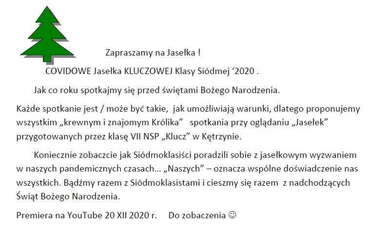 Zaproszenie na jasełka 2020