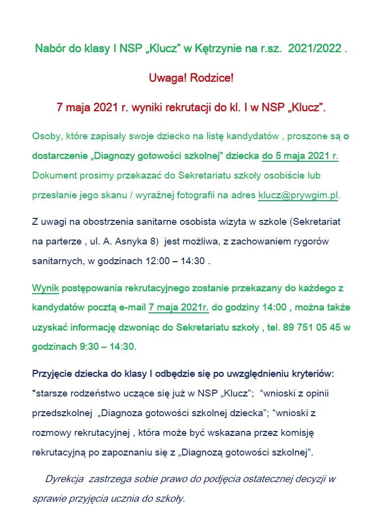 """Nabór do klasy I NSP """"Klucz"""" w Kętrzynie na r.sz.  2021/2022 ."""