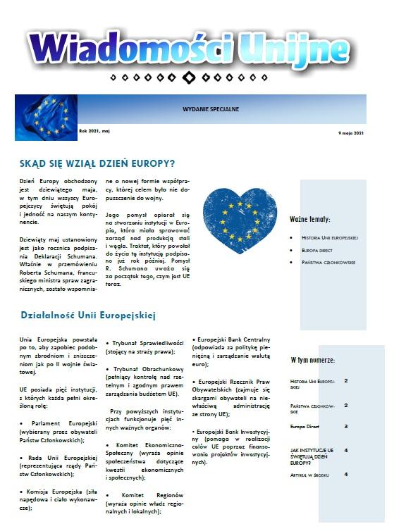 Gazetka o Unii Europejskiej klasy siódmej